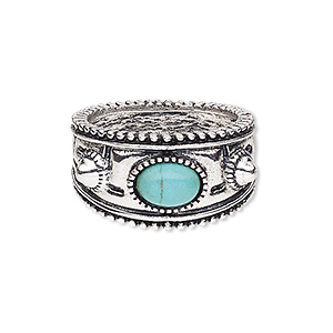 ring, magnesite (dyed / stabilized) and antique silver-plated pewter (zinc-based alloy), turquoise blue, 15mm wide with oval, size 9. sold individually.