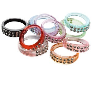ring mix, acrylic and glass rhinestone, multicolored, sizes 6-10. sold per pkg of 10.