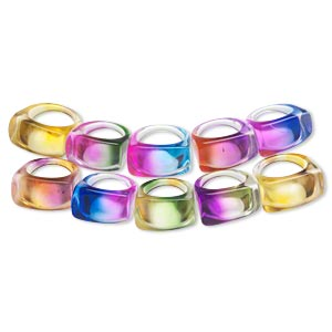 ring mix, acrylic, multiple colors, large band with 24x15mm rounded rectangular shape, sizes 6-9. sold per pkg of 10.