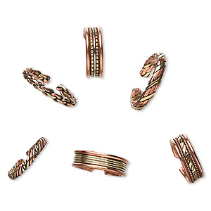 ring mix, copper and brass, 4-7mm wide, adjustable. sold per pkg of 6.