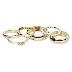 ring mix, glass rhinestone and gold-finished brass, clear, 3mm and 6mm wide, size 5 to 12-1/2. sold per pkg of 6.