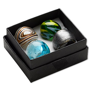ring mix, lampworked glass, multicolored, 16-24mm wide with mixed designs, size 6-9. sold per pkg of 4.