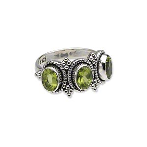 ring, peridot (natural) and antiqued sterling silver, 8x6mm faceted oval, size 7. sold individually.