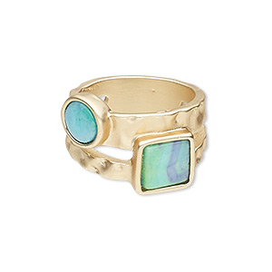 ring, resin and gold-finished pewter (zinc-based alloy), blue and green, 14mm wide with matte square and round, size 8-1/2. sold individually.