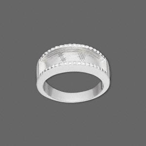 ring, silver-plated brass, 4-7.5mm wide with 17x4mm channel, size 7.5. sold individually.