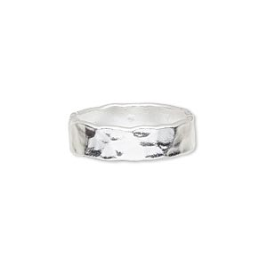 ring, silver-plated copper, 6mm wide with hammered design, size 7-1/2. sold individually.