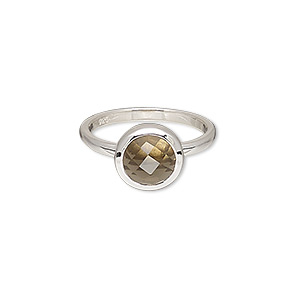 ring, smoky quartz (heated / irradiated) and sterling silver, 10mm wide with 10mm faceted round, size 7. sold individually.