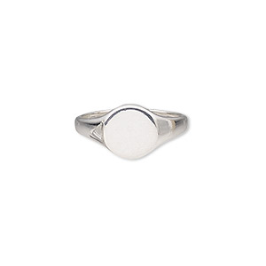 ring, sterling silver, 10.5mm wide with 10.5mm flat round setting, size 9. sold individually.