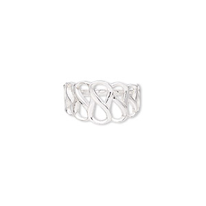 ring, sterling silver, 12mm wide with open infinity design, size 9. sold individually.
