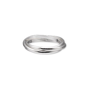 ring, sterling silver, 2mm wide, size 8. sold individually.