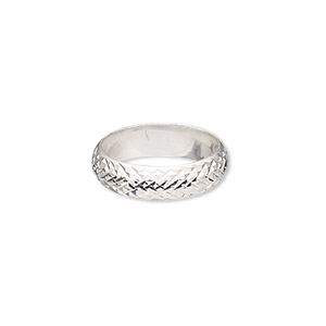 ring, sterling silver, 6mm wide with diamond-cut cross-hatched design, size 9. sold individually.