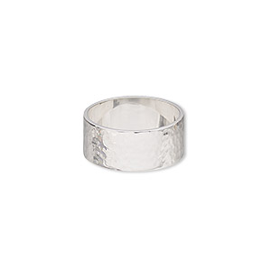 ring, sterling silver, 8.5mm wide with hammered design, size 7. sold individually.