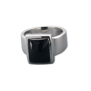 ring, sterling silver and black onyx (dyed), 12x10mm rectangle, size 7. sold individually.