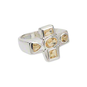 ring, sterling silver and faceted citrine (heated), 22x18mm cross, size 8. sold individually.