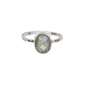 ring, sterling silver and labradorite (natural), 10x8mm faceted oval, size 9. sold individually.