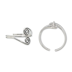 ring, sterling silver, double swirl with peg, adjustable. sold individually.