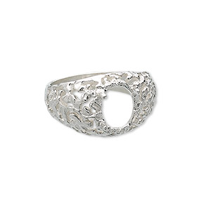 ring, sterling silver, freeform band with 10x8mm 4-prong oval setting, size 9. sold individually.