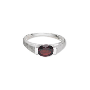 ring, sterling silver with garnet (natural), 8x6mm faceted oval, size 7. sold individually.