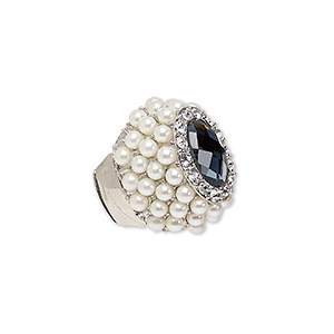 ring, stretch, acrylic pearl / glass / glass rhinestone / silver-plated pewter (zinc-based alloy), white / grey / clear, 35mm wide, size 8-9. sold individually.