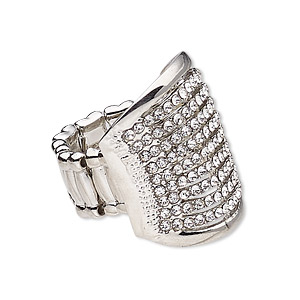 ring, stretch, glass rhinestone / silver-coated plastic / silver-plated pewter (zinc-based alloy), clear, 26.5mm wide with rectangle, size 7-8. sold individually.