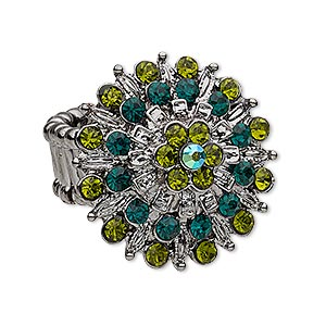 ring, stretch, glass rhinestone and gunmetal-plated pewter (zinc-based alloy), peridot green / dark green / dark green ab, 29x29mm flower. sold individually.
