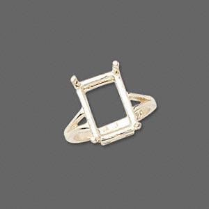 ring, sure-set™, 14kt gold, 14x10mm 4-prong emerald-cut basket setting, size 7. sold individually.