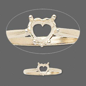 ring, sure-set™, 14kt gold, 6x6mm 6-prong heart basket setting, size 7. sold individually.