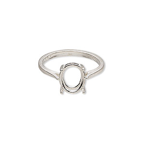 ring, sure-set™, sterling silver, 10x8mm 4-prong oval basket setting, size 7. sold individually.