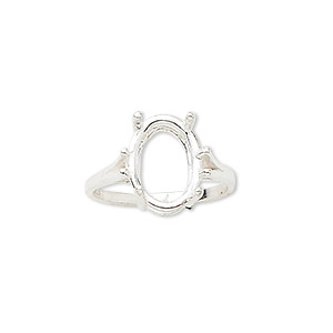 ring, sure-set™, sterling silver, 14x10mm 4-prong oval basket setting, size 7. sold individually.