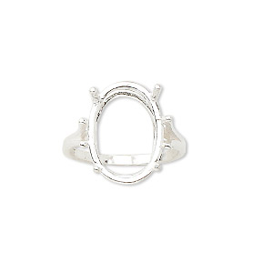 ring, sure-set™, sterling silver, 18x13mm 4-prong oval basket setting, size 7. sold individually.