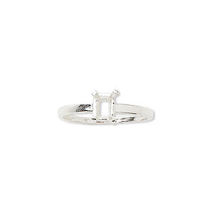 ring, sure-set™, sterling silver, 6x4mm 4-prong emerald-cut basket setting, size 7. sold individually.