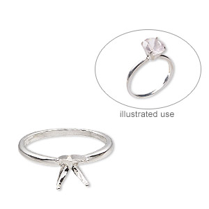 ring, sure-set™, sterling silver, 8mm 4-prong round setting, size 7. sold individually.
