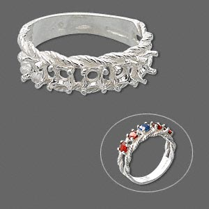 ring, sure-set™, sterling silver, braided band with (5) 3.5mm 4-prong round settings, size 6. sold individually.