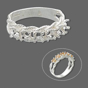 ring, sure-set™, sterling silver, braided band with (6) 3.5mm 4-prong round settings, size 6. sold individually.