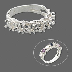 ring, sure-set™, sterling silver, braided band with (7) 3.5mm 4-prong round settings, size 6. sold individually.