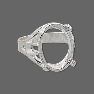 ring, sure-set™, sterling silver, branch band with 18x13mm 4-prong oval setting, size 6. sold individually.