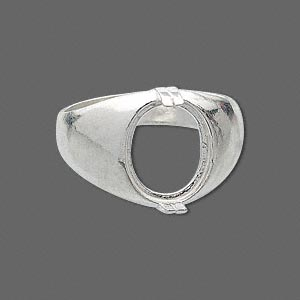 ring, sure-set™, sterling silver, dome band with 12x10mm 2-prong oval setting, size 9. sold individually.