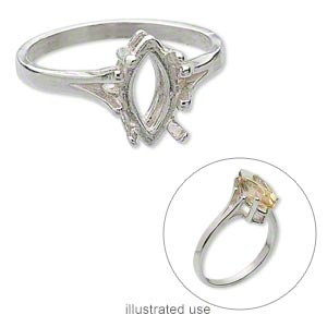 ring, sure-set™, sterling silver, smooth band with 12x6mm faceted marquise setting, 4 prong, size 7. sold individually.