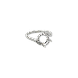 ring, sure-set™, sterling silver, swirl band with 10x8mm faceted oval setting, 4 prong, size 7. sold individually.
