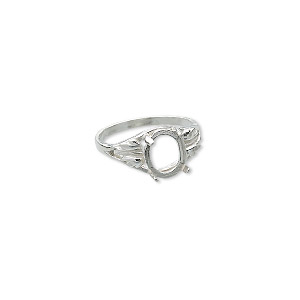 ring, sure-set™, sterling silver, two-leaf band with 10x8mm oval 4-prong setting, size 8. sold individually.