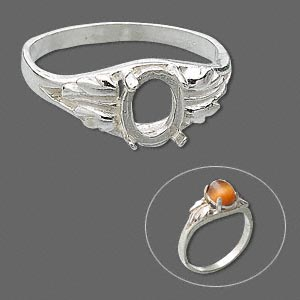 ring, sure-set™, sterling silver, two-leaf band with 8x6mm 4-prong oval setting, size 6. sold individually.
