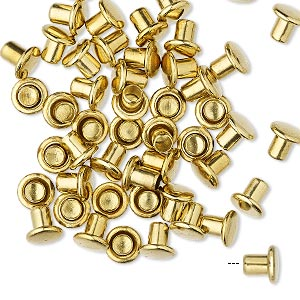 rivet, brass, 5.5x5mm with 3mm shank and 2.5mm inside diameter, fits 3.5-5mm hole. sold per pkg of 50.