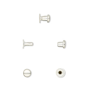 rivet, tierracast, silver-plated brass, 5x4.5mm with 2.4mm shank and 1.5mm inside diameter, fits up to 2.5mm hole. sold per pkg of (10) 2-piece sets.