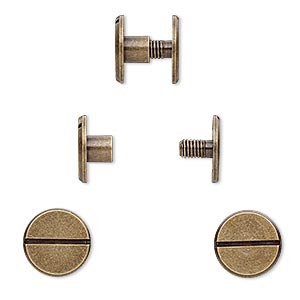 rivet, twist-in, antique brass-plated brass, 10x5mm with 10mm flat round and 3mm shank. sold per pkg of (4) 2-piece sets.