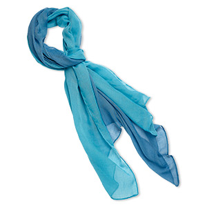 scarf, polyester, blue and turquoise blue, 60x24-inch rectangle. sold individually.