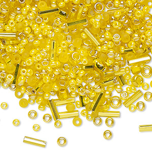 seed and bugle bead mix, glass, multi-yellow, #2 to #11 round / rectangle / round tube. sold per 18-gram vial.