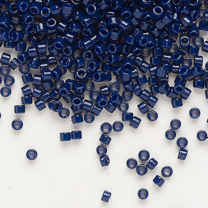 seed bead, delica, duracoat opaque dark navy blue, (db2144), #11 round. sold per 7.5-gram pkg.