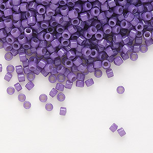 seed bead, delica, duracoat opaque deep purple, (db2140), #11 round. sold per 7.5-gram pkg.