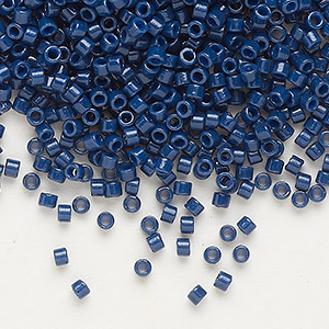 seed bead, delica, duracoat opaque navy blue, (db2143), #11 round. sold per 50-gram pkg.