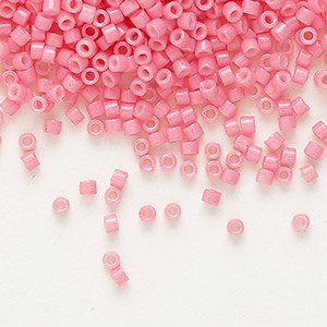 seed bead, delica, duracoat opaque pink, (db2117), #11 round. sold per 7.5-gram pkg.